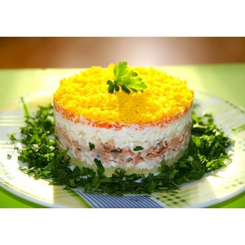 Салат мимоза с консервой рыбной рецепт