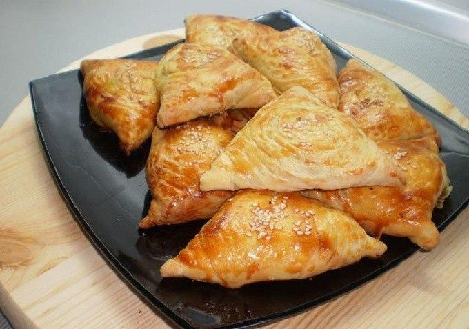 Слоеная самса с мясом рецепт с фото