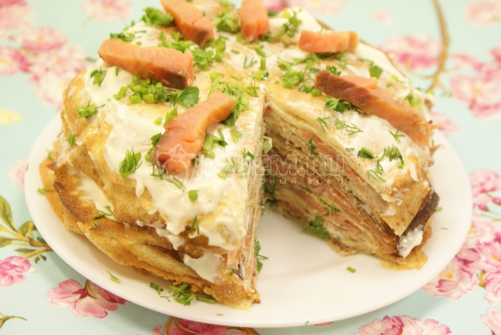 Блинный торт с рыбой рецепт с фото